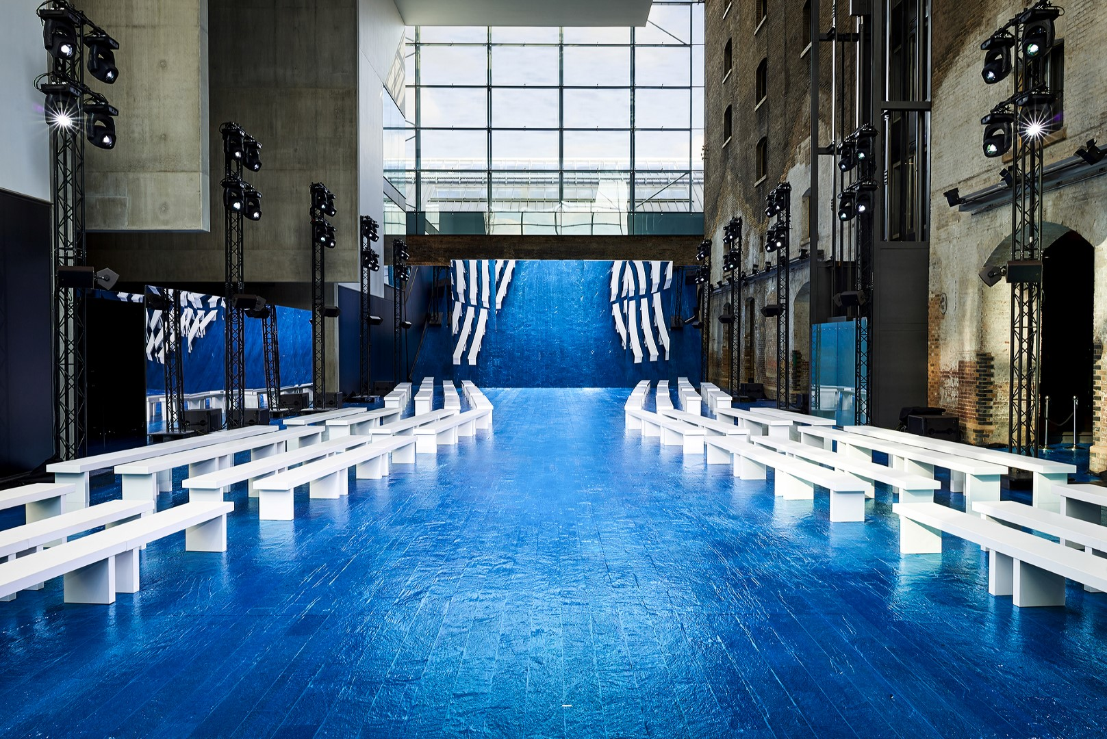 Blue flooring for event